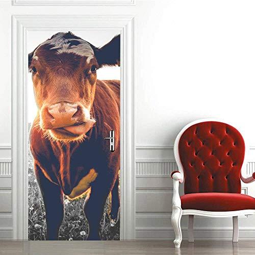 BXZGDJY deurbehang, zelfklevend, kleine oker, 3D-deur, decoratie, muurfoto, deurbehang, vinyldeur, behang, binnendeur, afneembare binnendeur, kunst, huisdecoratie, deurbehang, zelfklevend deurposter - Fotot 90X200CM