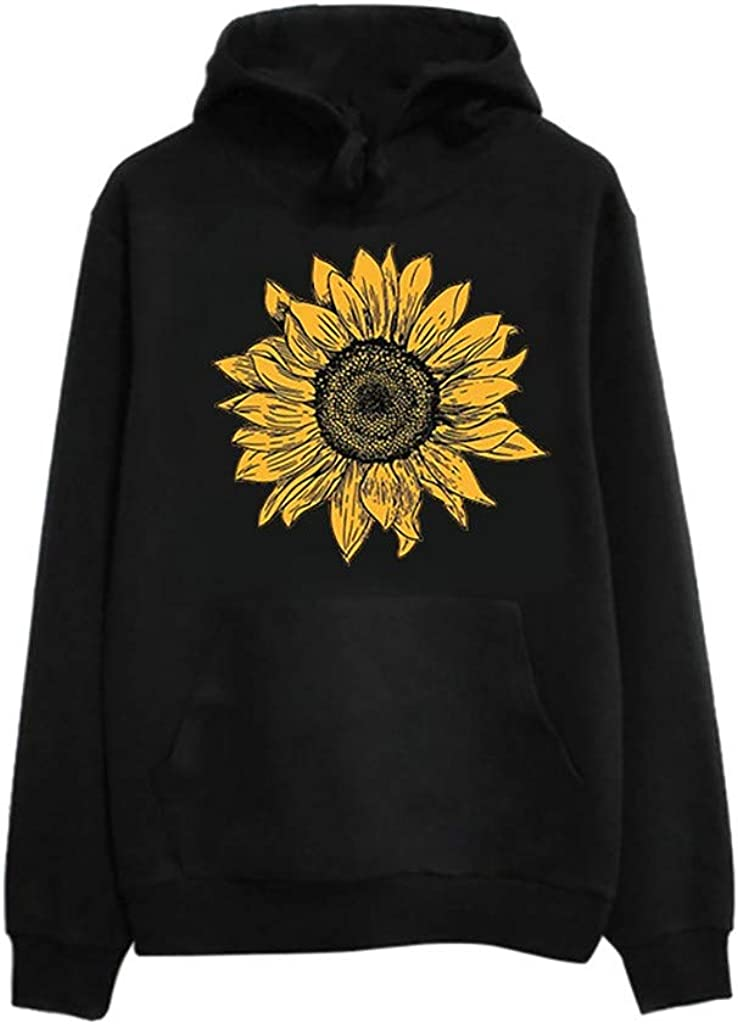 SALIFUN Women's Sunflower Printed Hooded Sweatshirt Long Sleeve Casual Pullover Loose Warm Drawstring Hoodies with Pocket