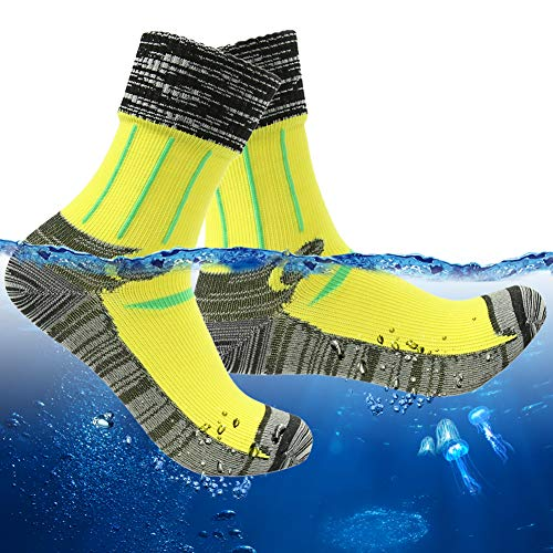 RANDY SUN Bulk Warm Waterproof Socks Hiking Breathable Moisture Control Socks Waders for Men 1 Pair (Yellow,Medium)