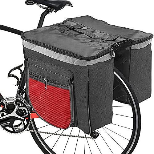 Borsa per Bicicletta,RANJIMA Borse Bici Posteriore Laterali Multifunzionale, Grande Capacità Doppia Borsa per Portapacchi,Borsa Bicicletta Impermeabile per Mountain Bike, Bici da Corsa Outdoor (rosso)