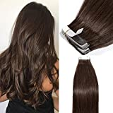 Extension Adhesive Naturel 40 Pcs - Rajout Cheveux Humain Bande Adhesive Extensions (#4 MARRON CHOCOLAT, 40CM - 100g)