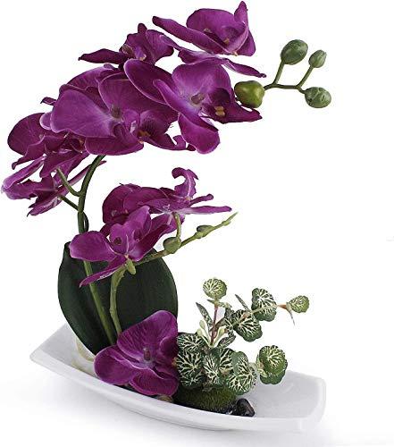 RENATUHOM Künstliche Orchidee in weißem Porzellantopf, künstliche Blumen und Pflanzen für Innendekoration, realistisch und lebensecht B-violett-1