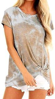 Fensajomon Womens Loose Side Twist Knot Short Sleeve Tie Dye Print Summer Blouse Top T-Shirt
