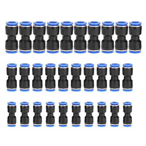 Keenso Kunststoffrohr 30 Stück gerade pneumatische Armaturen steckbare Schnellverbindungsanschlüsse für 1/4 Zoll 5/16 Zoll 3/8 Zoll 6mm 8mm 10mm Rohr