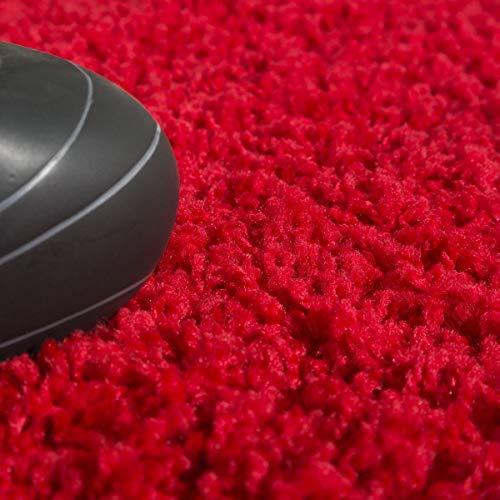 T&T Design Alfombra Shaggy Pelo Largo Moderna Monocolor En Rojo Precio Inmejorable, Größe:160x220 cm