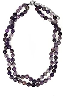 Gem Stone King 18inches Gorgeous Purple Amethyst Beads Necklace 18 Inch