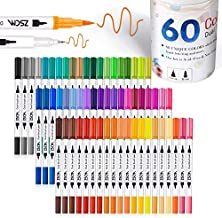 ZSCM 60 Colors Dual Tip Brush Pens Art Markers Set, Fine and Brush Tip Colored Dual Pen for Kid Adult Coloring Book Drawing Bullet Journal Planner Calendar Art Projects