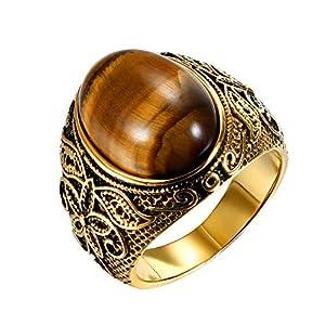 JewelryWe Schmuck Herren-Ring, Tiger-Auge Edelstahl, Retro Klasische geschnitzt Blumen Muster Ring Band, Gold - Größe 57