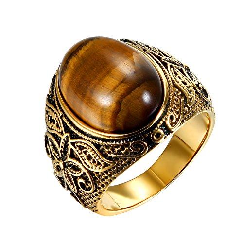 JewelryWe Schmuck Herren-Ring, Tiger-Auge Edelstahl, Retro Klasische geschnitzt Blumen Muster Ring Band, Gold - Größe 67