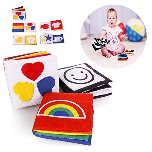 Gearmax 3 Pcs Bébé Livre des Découvertes en Tissu, Jouets éducatifs pour Enfants