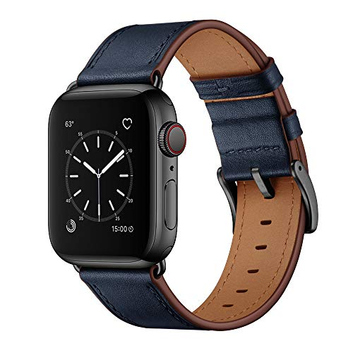 OUHENG Compatible with Apple Watch Band 44mm 42mm, Genuine Leather Band Replacement Strap Compatible with Apple Watch Series 6/5/4/3/2/1/SE, Dark Blue Band with Black Adapter