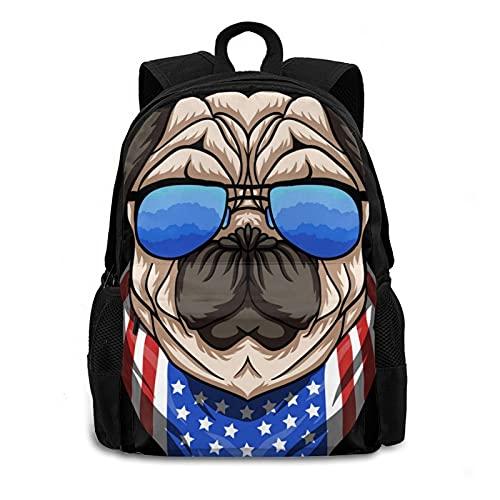 Mochila unisex con diseño de perro de pug con bandera de EE. UU, Negro, talla única