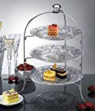 Elegant and charming serving platter Created from Crystal, its unique design is hand-cut and deeply faceted for extra sparkle. With a silver rack. Perfect for a Variety of Foods, From Hors D'oeuvres to Baked Goods, Or Holiday Parties, Weddings, Birth...