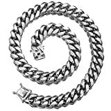 Jewelry Kingdom 1 Silver Cuban Necklace for Men 12mm Miami Curb Link 316L Stainless Steel Thick Heavy Chain (26 inch Necklace)