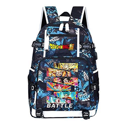 ZXJWZW Zaino Anime dei Cartoni Animati Dragon Ball Bookbag Zaino USB Teen Borse per Bambini Borse A Tracolla per Scuola