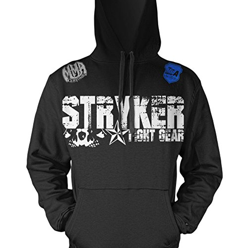 Stryker Fight Gear Skulls Gym Fitness Hooded Jumper Clothing Tapout Wear Fit W Affliction Decal (Medium, Black)