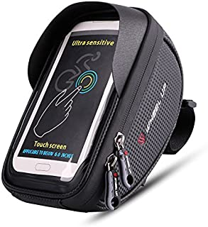 MOOZO Bike Handlebar Bag, Bicycle Phone Holder, Waterproof Cycling Frame Bags Top Tube Pouch Pannier Bike Phone Mount Stand for iPhone Xs MAX XR X 8 7 6 6S Plus Samsung S9 S8 S7 Smartphones Below 6''