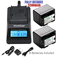 Kastar Fast Charger + Battery (DECODED) (2-Pack) for Canon BP-727 and VIXIA HF M50, HF M52, HF M500, HF R30, HF R32, HF R40, HF R42, HF R50, HF R52, HF R60, HF R62, HF R300, HF R400, HF R500, HF R600