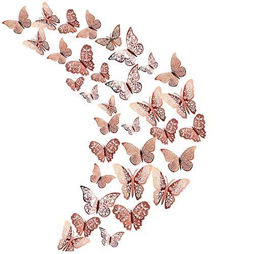36 piezas de decoración de mariposa 3D hueca de oro rosa, decoración de mariposa pegatinas de pared decoración de fiesta de cumpleaños decoración del hogar del dormitorio de la boda