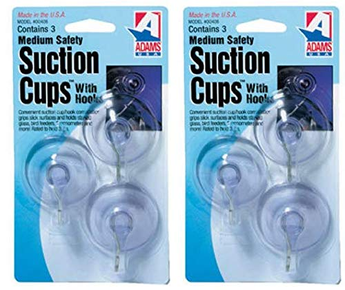 Adams Manufacturing 6500-74-3040 1-3/4-Inch Suction Cup Hook, Medium, 3-Pack (?wo ?ack)