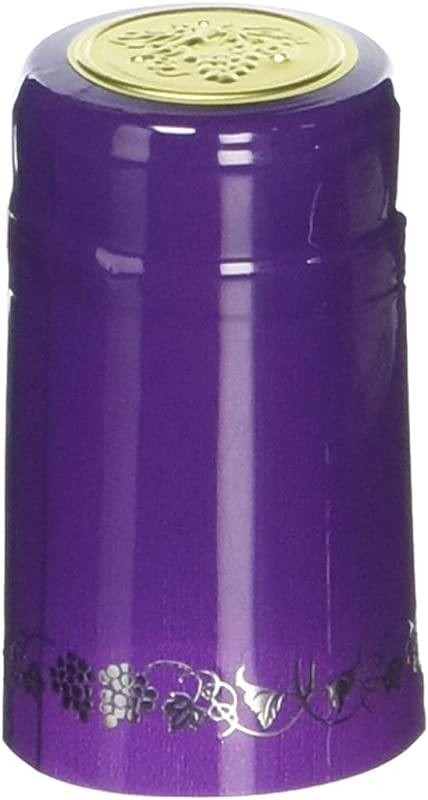 Lonely Mountain Homebrew Winemaking PVC Heat Shrink Capsules With Tear Tabs 120Count Purple Silver With Grapes