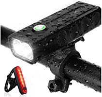 Strontex Bike Lights Front and Back Rechargeable Set, 1000 lumens, LED, Flashlight with 3 Modes, IPX5 Waterproof Bike...