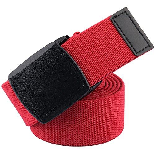 mookaitedecor Unisex Gürtel Elastischer Nylon Belt für Herren und Damen mit Automatisch Schnalle, Rot(kunststoffschnalle), Einheitsgröße