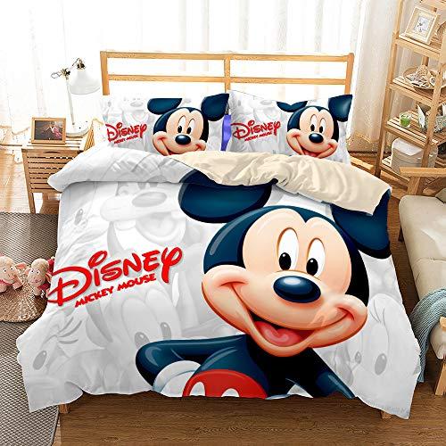 ZKDT Disney Mickey y Minnie - Juego de cama (funda nórdica de 3 piezas, funda de almohada de 80 x 80 cm y 50 x 75 cm), diseño de Mickey y Minnie