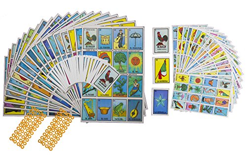 Naipes Gacela 2 Loteria Mexicana Sets (Different Sizes), 1 Jumbo Set (20 Boards, Cards and 80 Markers) & 1 Portable Set (20 Boards and Cards). Fun for The Whole Family