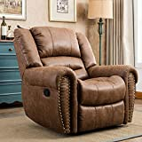CANMOV Recliner Chair Classic and Traditional Manual Recliner Chair with Arms and Back Single Sofa for Living Room, Nut Brown