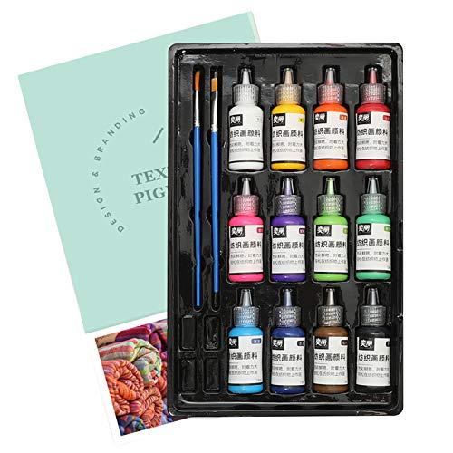 Juego de 12 colores de pintura acrílica lavable, no tóxica, con 2 pinceles de 18 ml/botella para tela textil, ropa y lona