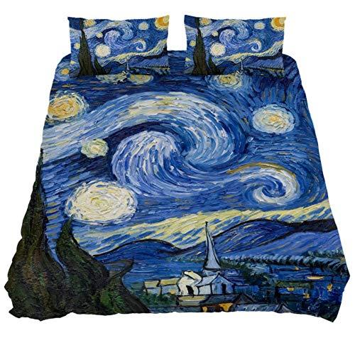 Van Gogh The Starry Night Art Print Duvet Cover 3 Pieces Kids Bedroom Comforter Quilt Sheet Cover Queen Bedding Sets with Zipper,Black