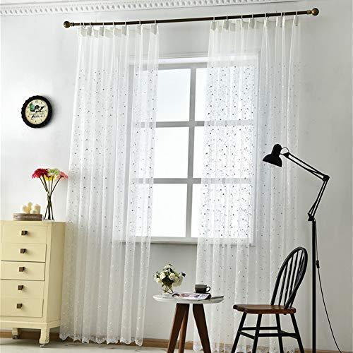 Michorinee 2er Set Voile Vorhang Transparent Stickerei Gardinen Weiß Ösenschal Blumen Polyester Schlaufenschal Vorhänge für Wohnzimmer Schlafzimmer Fenster, 175 × 140 (H × B)