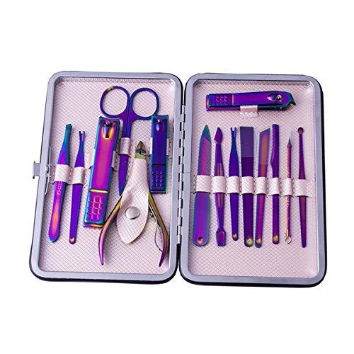 15pcs / set kit coupe-ongles manucure pédicure toilettage set ciseaux pincettes oreille pick outil de soin des ongles avec étui (Color : Purple)