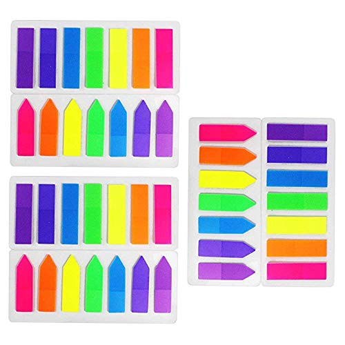HEHALI 6 Sets Neon Page Marker Colored Index Tabs Flags Fluorescent Sticky Note for Marking for Page Marker 840 Pieces