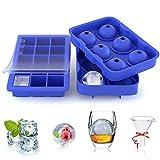 ZeaLife Eiswürfelform, 2 Stück Silikon Eiswürfel Form 45mm Eiskugelform mit Trichter 32mm 15-Fach Eiswürfelbehälter mit Deckel, BPA Frei Ice Cube Tray für Whisky, Cocktails, Soda,...