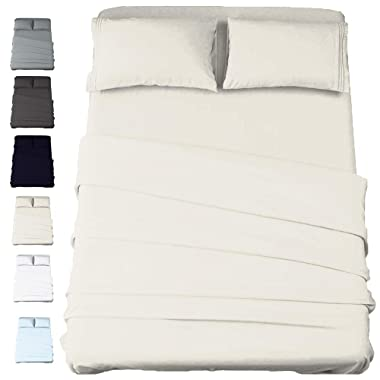 California Cotton Club 600 Thread Count 100% Long-Staple Pure Cotton Soft Sateen Weave Luxury Fits Mattress Upto 17 inch Deep Pockets 4 Piece Sheets and Pillowcases Set