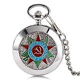 Luxe montre de poche, Argent Marteau Faucille soviétique de Russie Communisme badge montre de poche, vintage et rétro Cadeau pour homme