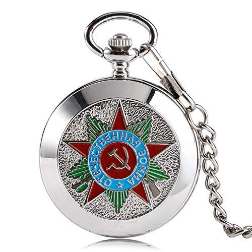 Reloj de bolsillo para hombre, plata rusa soviética, martillo de hoz, comunismo, insignia de bolsillo, collar vintage, regalo retro para hombres