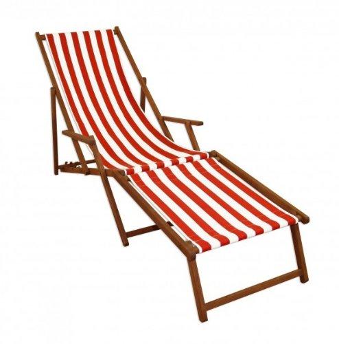 Erst-Holz Strandliege rot-weiß Gartenliege Relaxliege Fußteil Liegestuhl Deckchair Buche dunkel 10-314 F