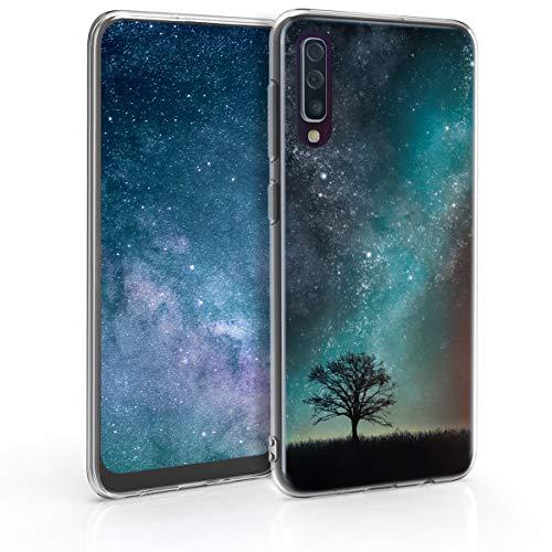 kwmobile Hülle kompatibel mit Samsung Galaxy A50 - Handyhülle - Handy Case Galaxie Baum Wiese Blau Grau Schwarz