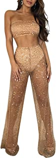 Womens Mesh See Through Club Party Bodycon Jumpsuit Rompers Sexy 2 Piece Outfits Pants Set and Crop Top