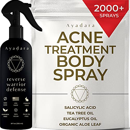 Ayadara Cystic, Hormonal, & Severe Acne Body Spray   Chest, Shoulder, Butt, Thigh, & Back Acne Treatment for Men, Women, & Teens   Tea Tree & Salicylic Acid Mist for Pimple Breakouts   2000+ Sprays