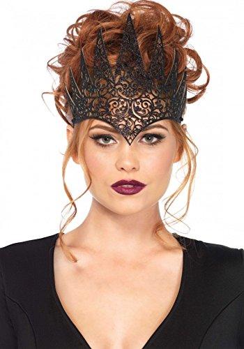 shoperama Krone aus Latex von Leg Avenue Königin Halloween Evl Queen Damen Kostümzubehör Tiara, Farbe:Schwarz