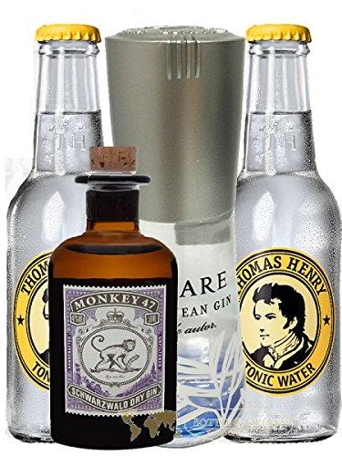 Gin Mare Miniatur 0,1 Liter + Monkey Mini + 2 x Thomas Henry Tonic Water 0,2 Liter