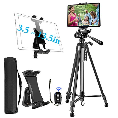 Camera Tripod for iPad iPhone, Tablet Tripod Stand Mount Holder 60inch Height with Remote for 3.5 to 13.5in Tablet Phone, iPad Pro Air Mini 12.9 11 Surface Galaxy, iPhone,DSLR,DV Video Camcorder