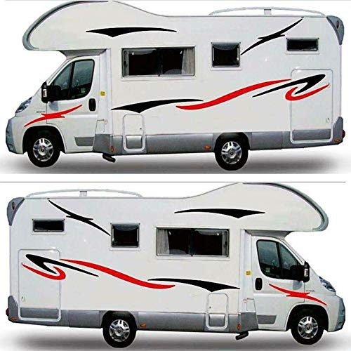 Mioloe Autocollants de Camping-Car, Camping-Car remorque Caravane Autocollant Vinyle Autocollant (Noir Rouge)