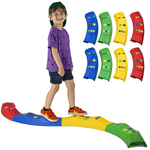 LITTLE CHUBBY ONE Rocksteady Balance Builder Beam Set - Kid Friendly Balance Blocks - 8 Piece Set Non-Slip Textured Surface Learning Toy Promotes Balance Coordination and Strength