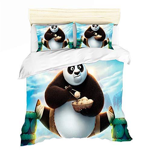 NICHIYO Juego de ropa de cama Kung Fu Panda con impresión digital en 3D, ropa de cama infantil de 3 piezas, funda nórdica de microfibra transpirable juvenil (02,135 x 210 cm)