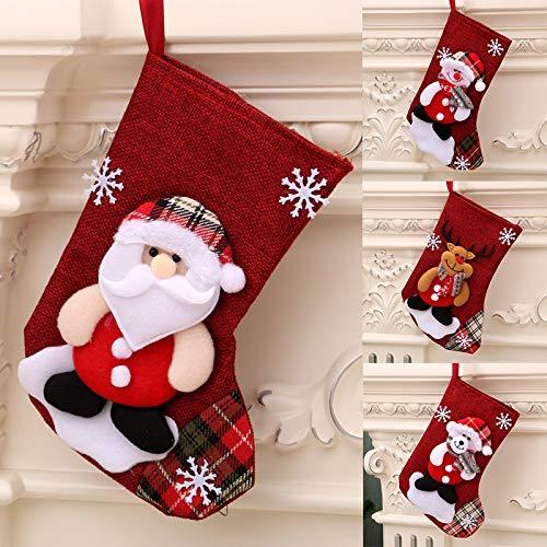 4 x Camino Calza di Natale, Calza Natalizia, Babbo Natale Pupazzo di Neve e Elk Calze Natalizie da Appendere Candy Sacchetti Regalo per Albero di Natale Festa di Natale Decorazioni